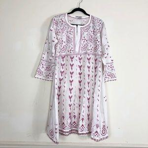 Neeta Puri White Cotton Hand embroidered tunic top